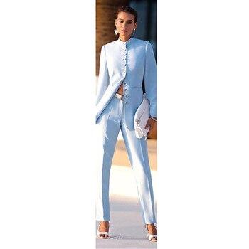 4c9c591292 Nueva moda para mujer azul trajes de negocios mujer Oficina uniforme formal  pantalón trajes para bodas señoras traje pantalón