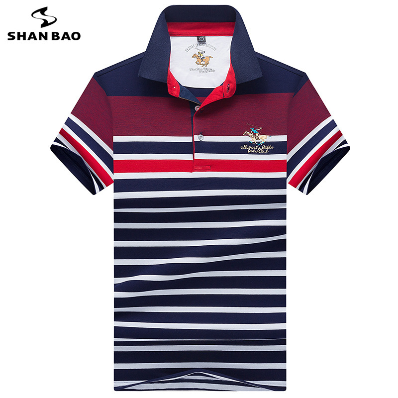 2019 Summer New Style Lapel Striped Men's Short Sleeve   Polo   Shirt British Style Business Fashion High Quality Cotton   Polo   Shirt