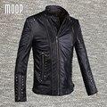 Negro abrigo de cuero genuino 100% de piel de cordero chaqueta de cuero real de la motocicleta del remache decoración manteau homme veste cuir homme LT849