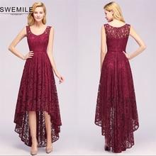 Vintage High Low Lace Plus Size Short Evening Dress 2019 Sexy Hollow Out Evening Party Dresses Vestido de Festa Curto