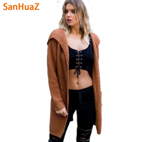 SanHuaZ Brand 2017 Autumn Winter Women S Sweaters Casual Hooded Long Sleeve Cardigans Pockets Split Women