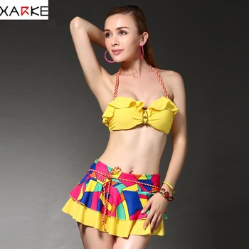 XARKE Ruffle Bikini Women 2018 Sexy Push Up Skirted Swimsuit Female Swimwear Halter Bather Swim Suit Girls Swimming