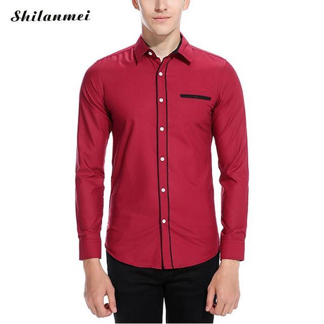 24282d1039 Primavera Masculino Camisa Social Vinho Tinto Manga Longa Ajuste Homens  Magros Camisa de Marca camisas dos