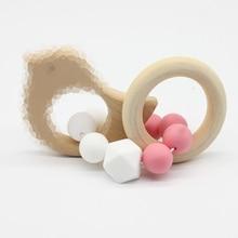 Baby Nursing Bracelets Wooden Teether Crochet Chew Beads Teething Wood Rattles Toys Teether Montessori Bracelets