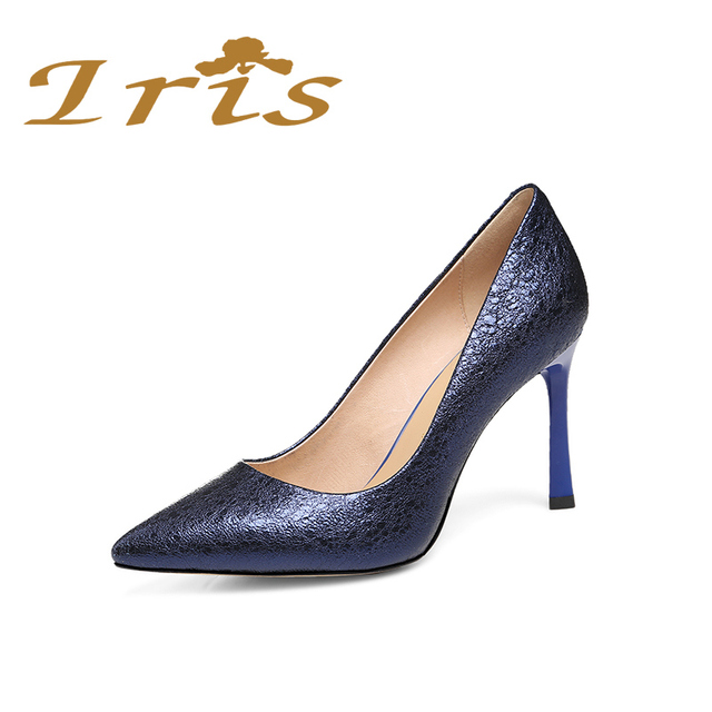 d5b6c3c37c4 IRIS 2017 Fashion Shoes Woman High Heels Mettalic Navy Blue Leather Women  Wedding Pumps Pointed Toe Sexy Zapatos Mujer 2017 New