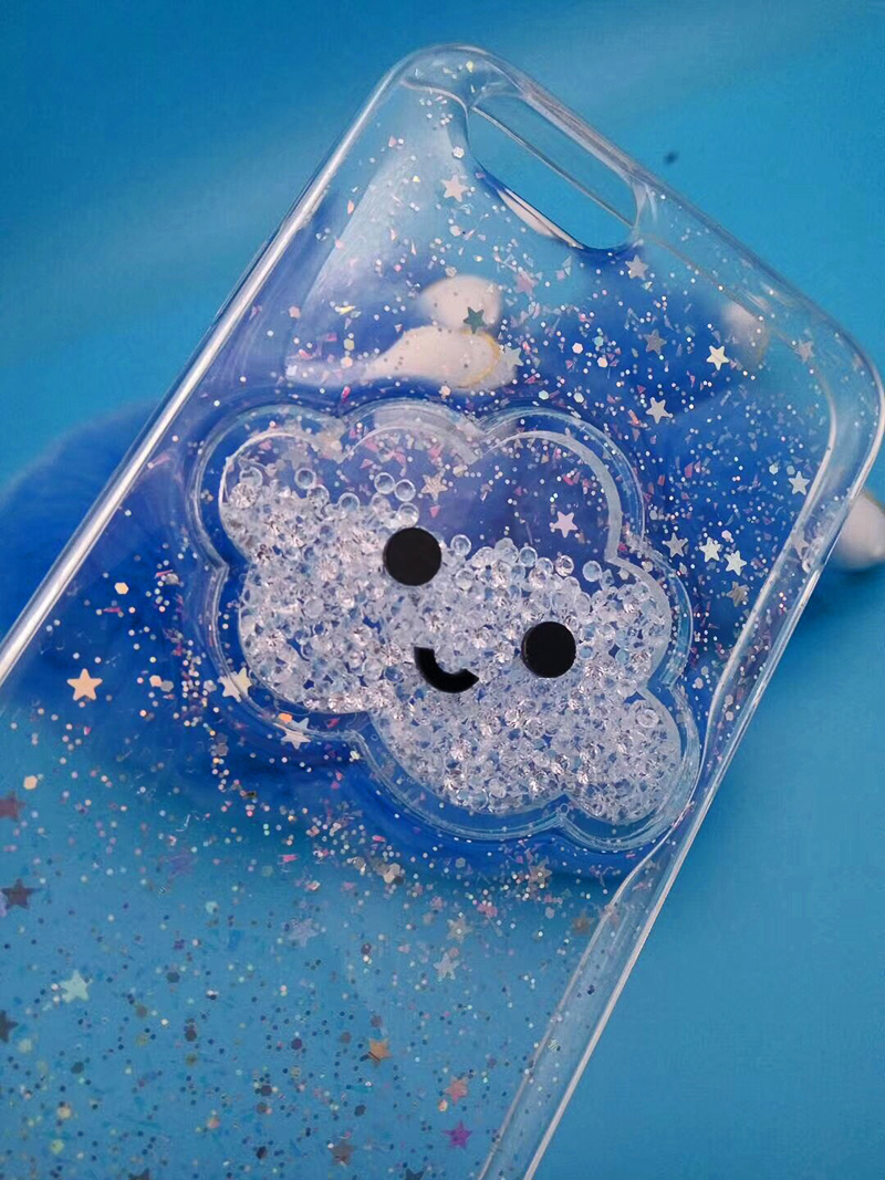 Cute Glitter Powder Smile Face Clouds Mobile Phone Case For iPhone X Soft TPU Dynamic Beads Back Cover For iphone 6 6s 7 8 Plus Case (14)