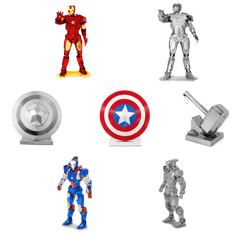 3D Metal Puzzle of Iron Man/Captain America/Thor Hammer Assemble Mini 3D DIY Marvel Avenger Model Kits for Kids Educational Toys электрический чайник scarlett sc ek14e04