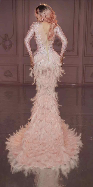 Kadınlar Seksi Tam Taşlar Uzun Büyük Kuyruk Elbise Kostüm Balo Doğum Günü Kutlamak Sparkly Rhinestones Pembe Tüy Çıplak Elbise