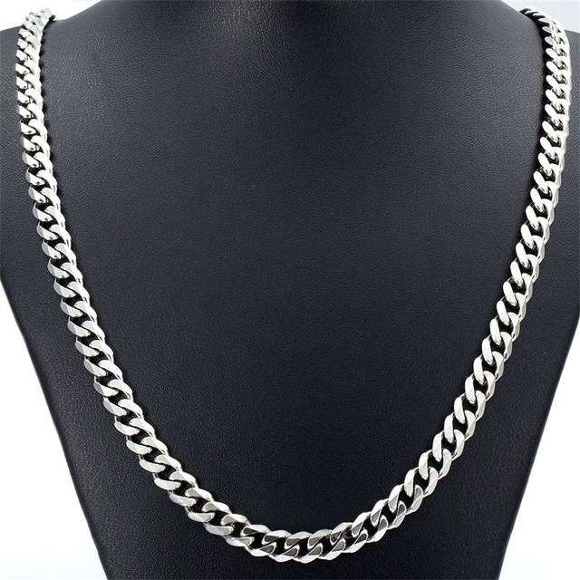 """New Arrival Men's 5/7MM 20""""/22""""24"""" Silver Stainless Steel Necklace Cuban Curb Link Chain Hot Wholesale"""