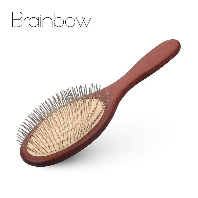 Brainbow 1 unid madera aguja de acero peine del pelo del cuero cabelludo masaje peine cepillo antiestático Natural Paddle cojín Airbag mango cepillos