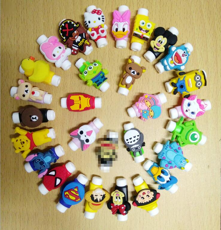 3D Cartoon USB Charging Cord Protective Case Sleeve Cable Winder Charging Cable Protector Saver 1000pcs lot