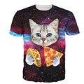 Verano estilo harajuku camiseta de los hombres t shirts 3d cat t-shirt cat comer tacos de pizza camisetas galaxy espacio tee tops S-3XL