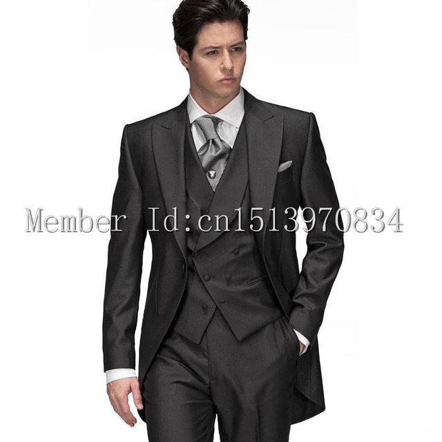Black Groom Tuxedo Groomsmen dresses 2015 Morning style Men Wedding ...