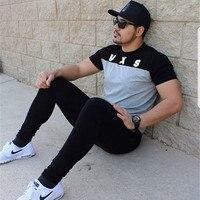 Muscle aesthetics sports tights men short sleeves basketball training fitness running leisure short t elastic collar thin
