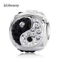 Authentische 100% 925 Sterling Silber Perle Charme Yin und Yang Taiji Kristall Perlen Fit Ursprüngliche Pandora Armbänder Frauen DIY Schmuck