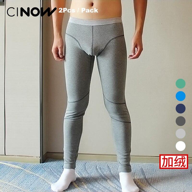 2 Pcs/Pack Mâle plus le velours épaississement Chauds serrés coton Thermique Sous-Vêtements Long Johns pantalon Épais de mode legging