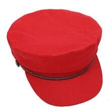 398ce902565db Mujeres algodón sólido sombrero visera sombrero militar ejército boinas  Otoño Invierno señoras militar sombreros para mujer