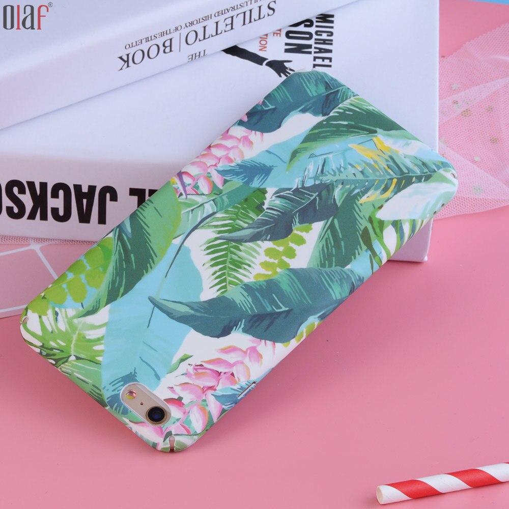 Olaf's store Милого джунгли цветочных растений S оставьте ca s e для iPhone 7 6 s 6 милый мультфильм листьев дай S У ПК задняя крышка телефона ca s e s для iPhone 7 6 6 S plu s