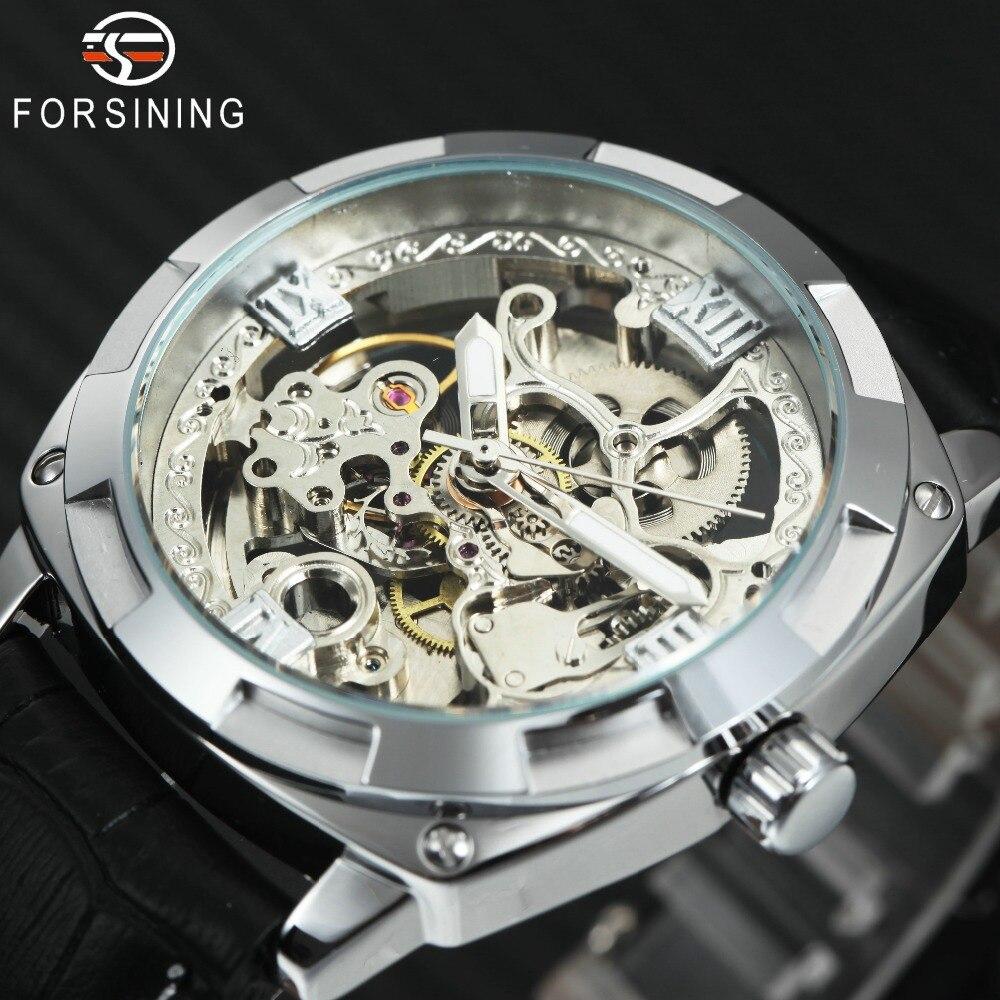 Men Mechanical Watches Skeleton Transparent Roman Numerals Dial Leather Strap Auto Wristwatches