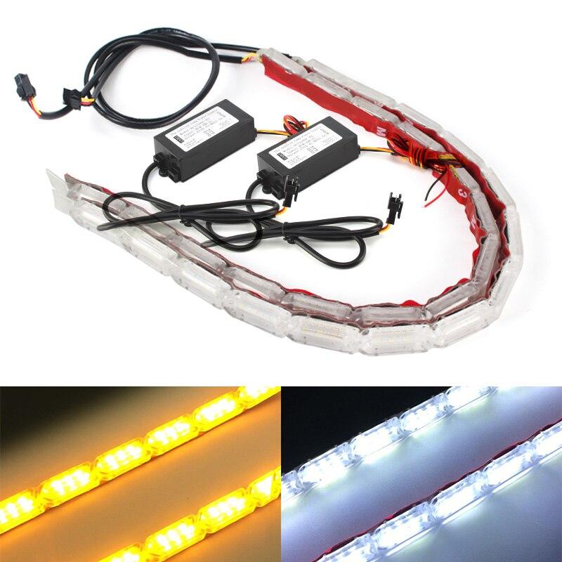 2 stücke Wasserdichte Flexible LED Streifen Lichter Neue Ankunft DRL Tagfahrlicht von Sequentielle Fluss Stil Switch scheinwerfer