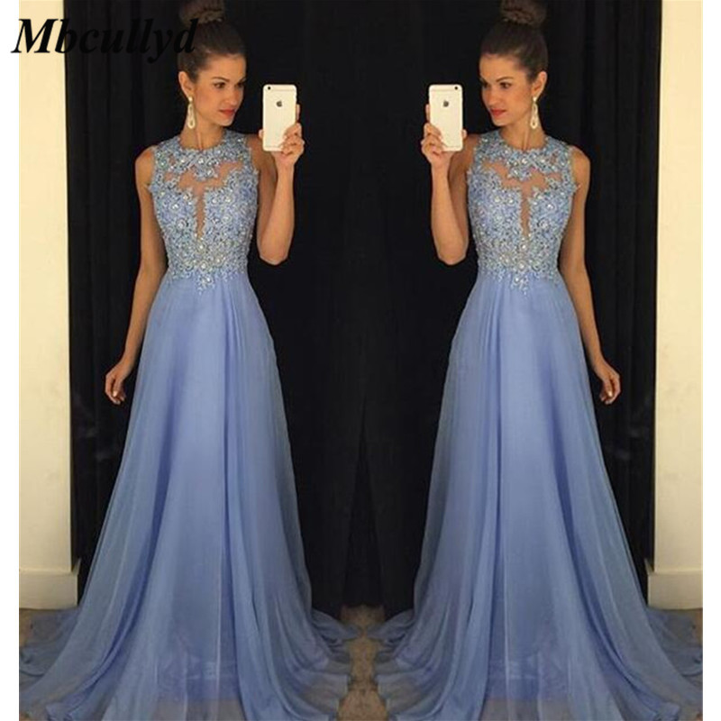 Mbcullyd Chiffon   Bridesmaid     Dresses   With Beading Crystal Long Maid Of Honor   Dress   A Line Party For Women Crystal Robe de mariee