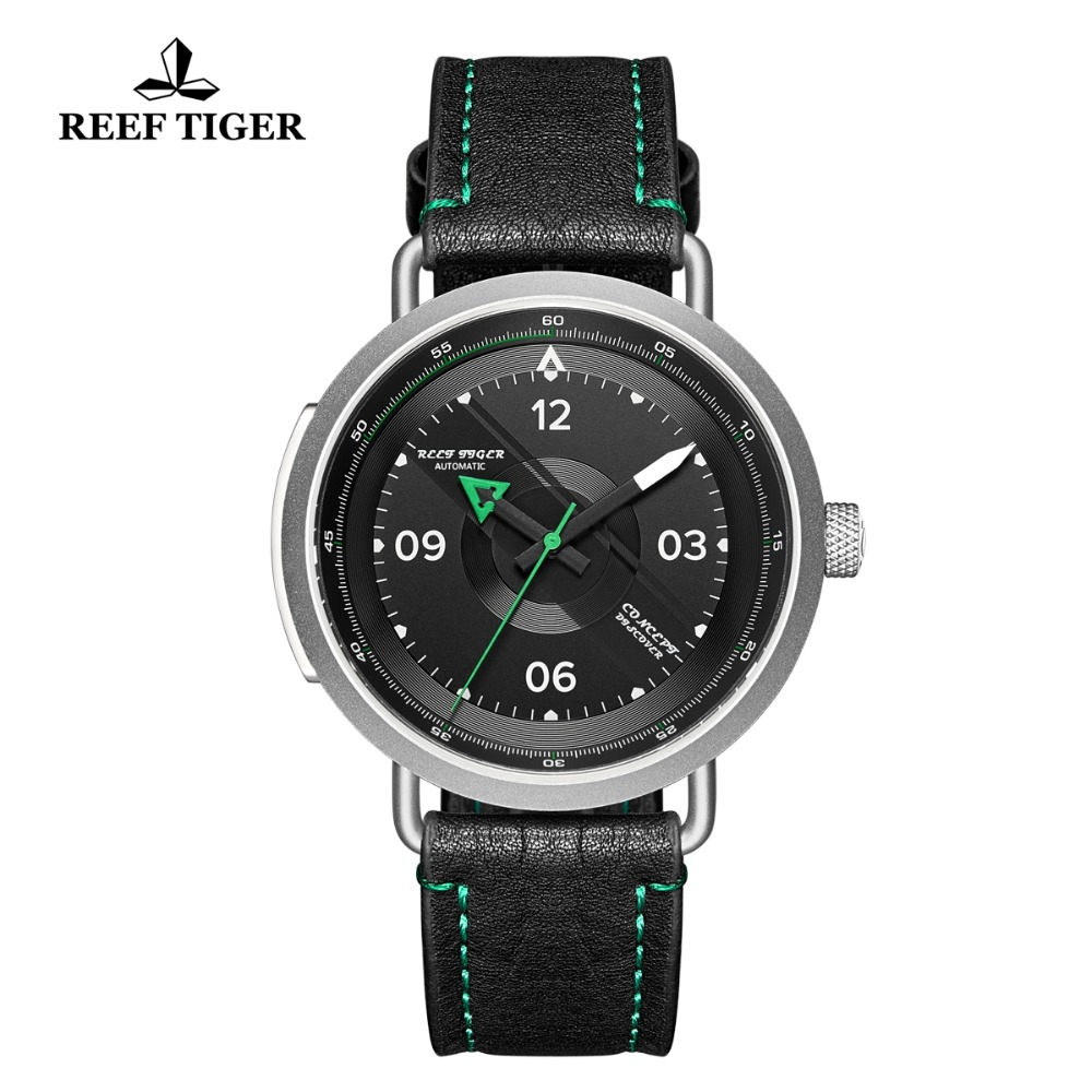 2019 Reef Tiger RT New Design Simple Watch Men Leather Strap Steel Waterproof Military Watches Automatic