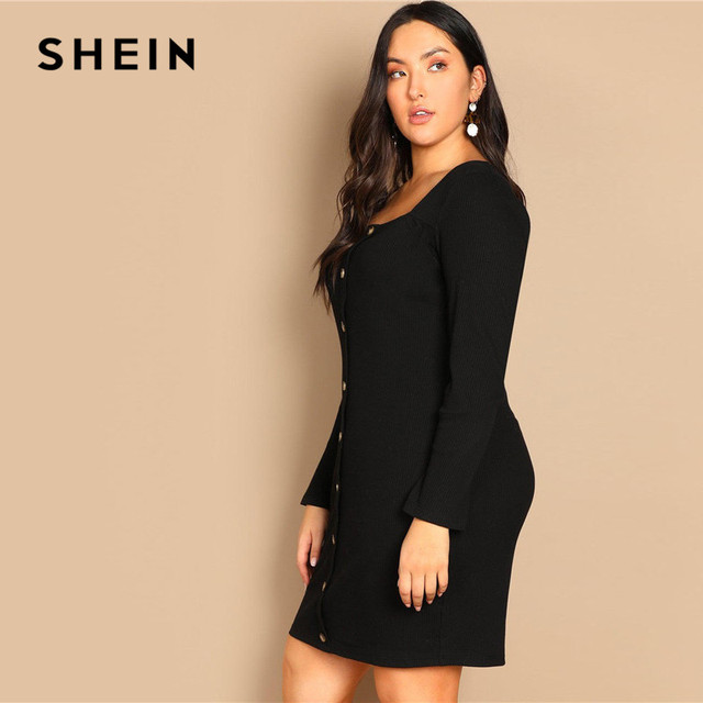 SHEIN Black Buttoned Long Sleeve Casual Plus Size Bodycon Short Dress Women Spring Office Stretchy Slim Fit Mini Dress 2