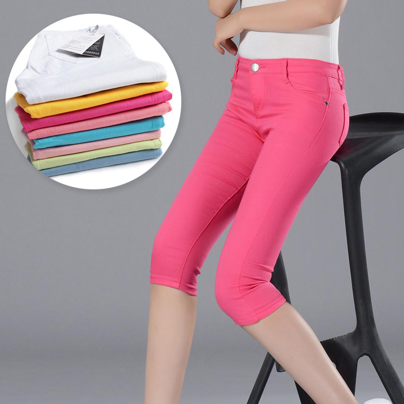 Red Short Pants Women Summer Candy Pantalon Femme Large Stretch Black Pants For Women Stretch Ladies Short Trousers Capris