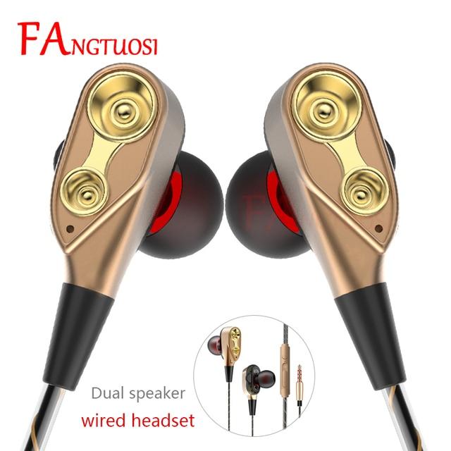 Double Unité D'entraînement Dans l'écouteur D'oreille 3.5mm Jack Filaire écouteurs Casque avec Micro pour Téléphone mp3 Sport écouteur fone de ouvido nouveau