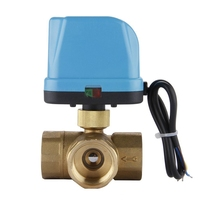 DN25 (G1.0 Inch) 3 Way 220V Zone Valve Electric Ball Valve Three Way Motor Reversing Valve with LED Lamp