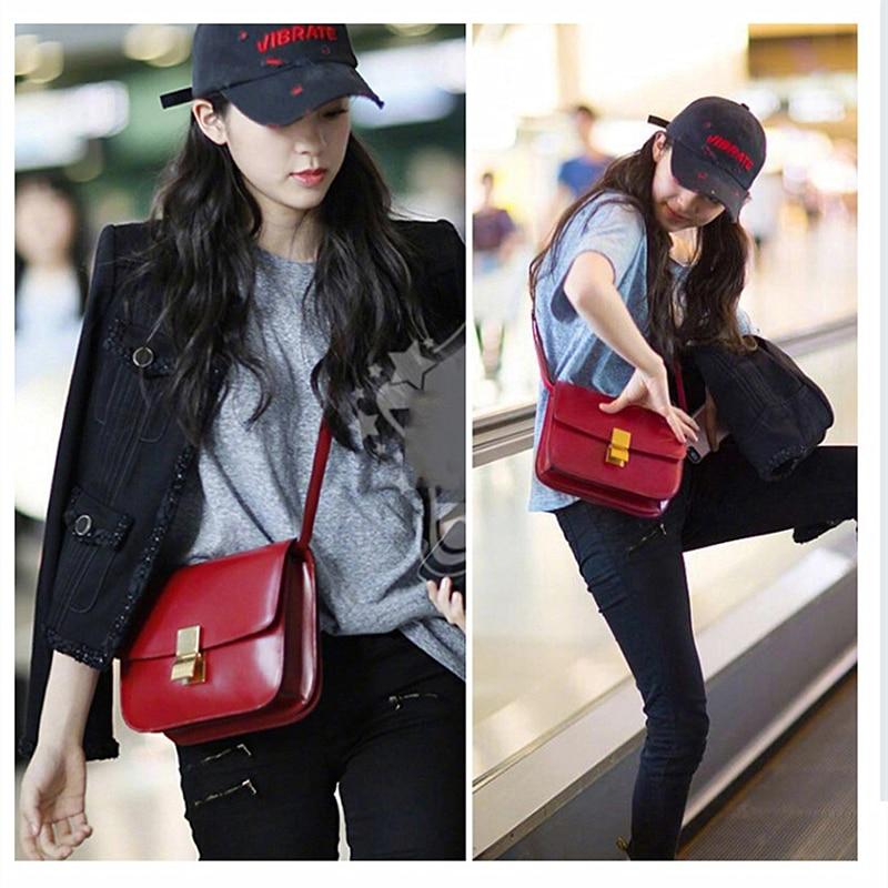 Burminsa กล่องกระจกของแท้หนังผู้หญิงกระเป๋า 2 ขนาดขนาดเล็กสุภาพสตรีไหล่กระเป๋าล็อคออกแบบ Flap Crossbody กระเป๋าฤดูร้อน 2019-ใน กระเป๋าสะพายไหล่ จาก สัมภาระและกระเป๋า บน   3