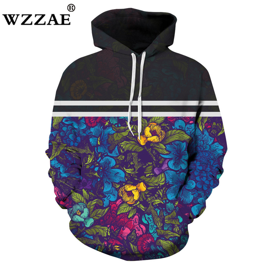 2018 New High Quality Floral Stripe Stitching 3D Printed Men and Women Hoodies Sweatshirts Funny Design Drawstring Hoodeds Man