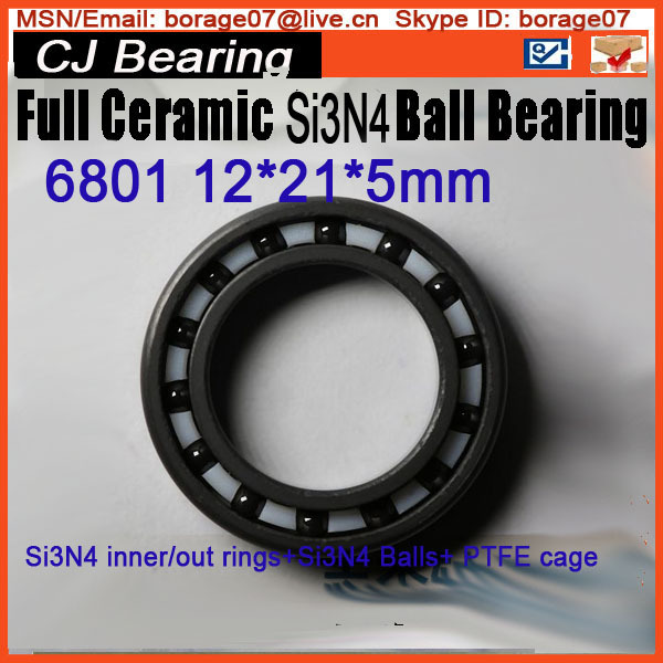 6801 Full si3n4 bearing 61801 12*21*5mm full ceramic ball thin section bearing