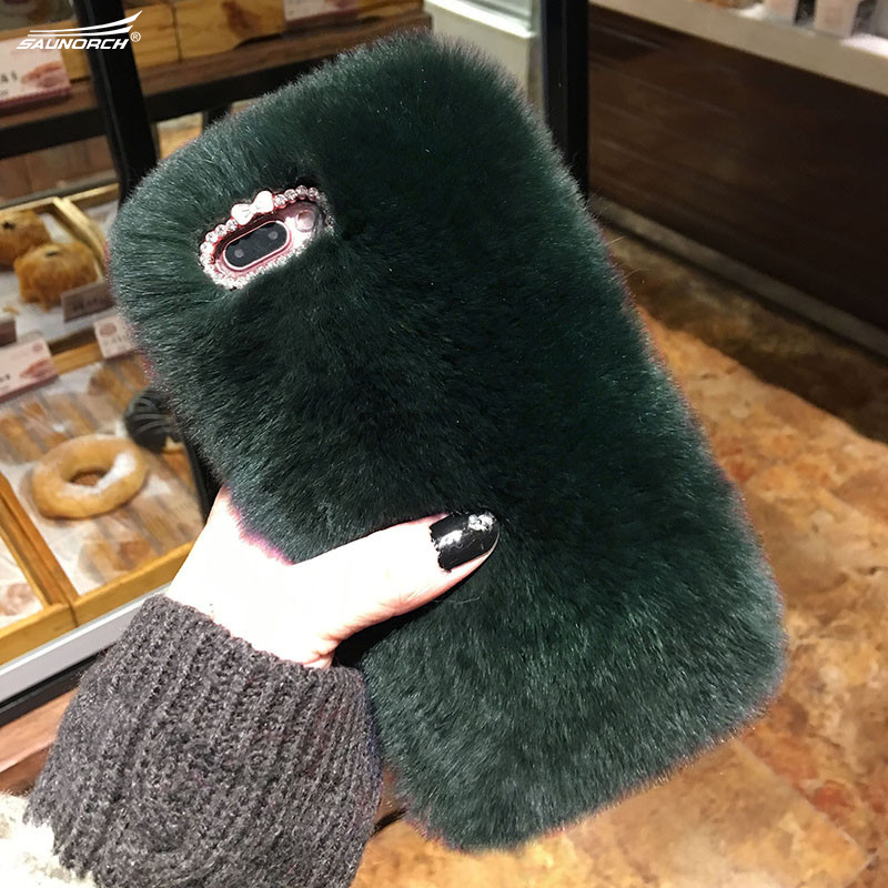 Diamond Covers Rabbit Fur Cases Hair Luxury DIY Mobile Phone Handmade Soft Phone Bags Case For iPhone 4 5 5C SE 6 6S 7 8 Plus X