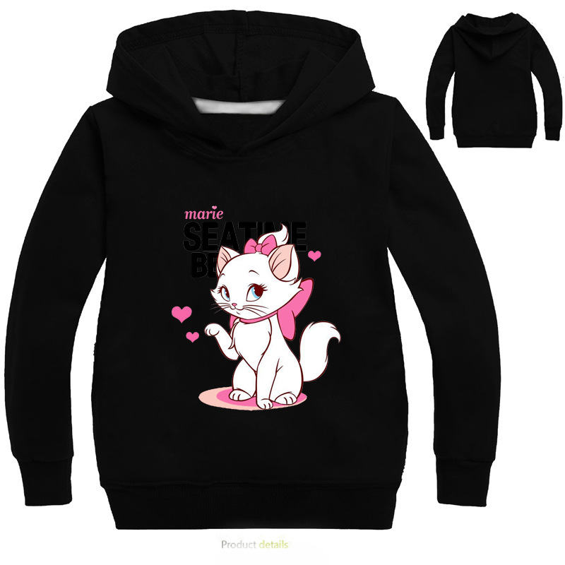3-16Years Marie Cat Clothes Long Sleeves Hoodies for Girl Aristocats Cat Sweatshirt Cute Baby <font><b>Bomber</b></font> Bobo <font><b>Jacket</b></font> image