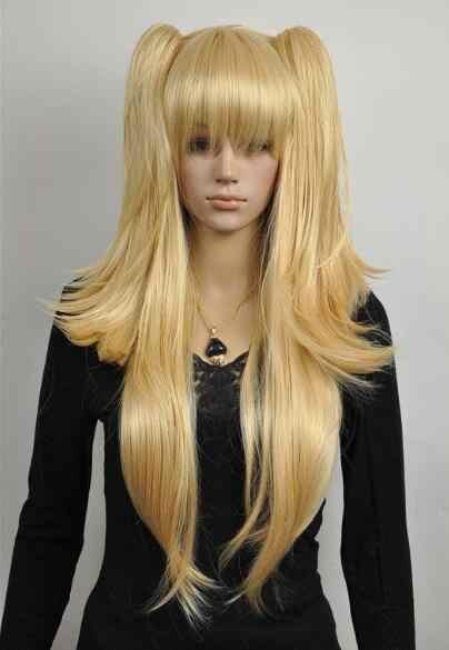 Парик Золотой Блонд длинный Лолита прямой сплит косплей парик конский хвост бесплатная доставка