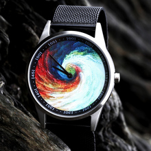 2019 Enmex design wristwatch 3D Rainbow Vortex creative stainless steel case Oil Painting face fashion quartz clock watch