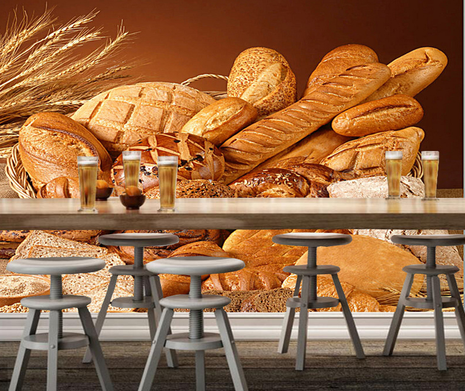 Bakery Wallpaper,Wheat With Bread,3D Modern Mural Used for Restaurant Cafe Background Wallpaper papel de parede home decor wheat breeding for rust resistance