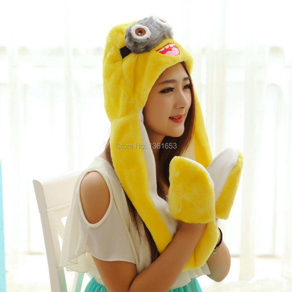 Winter hat Minions  hat  animal plush hat  Cosplay costumes Halloween Christmas gift Warmth