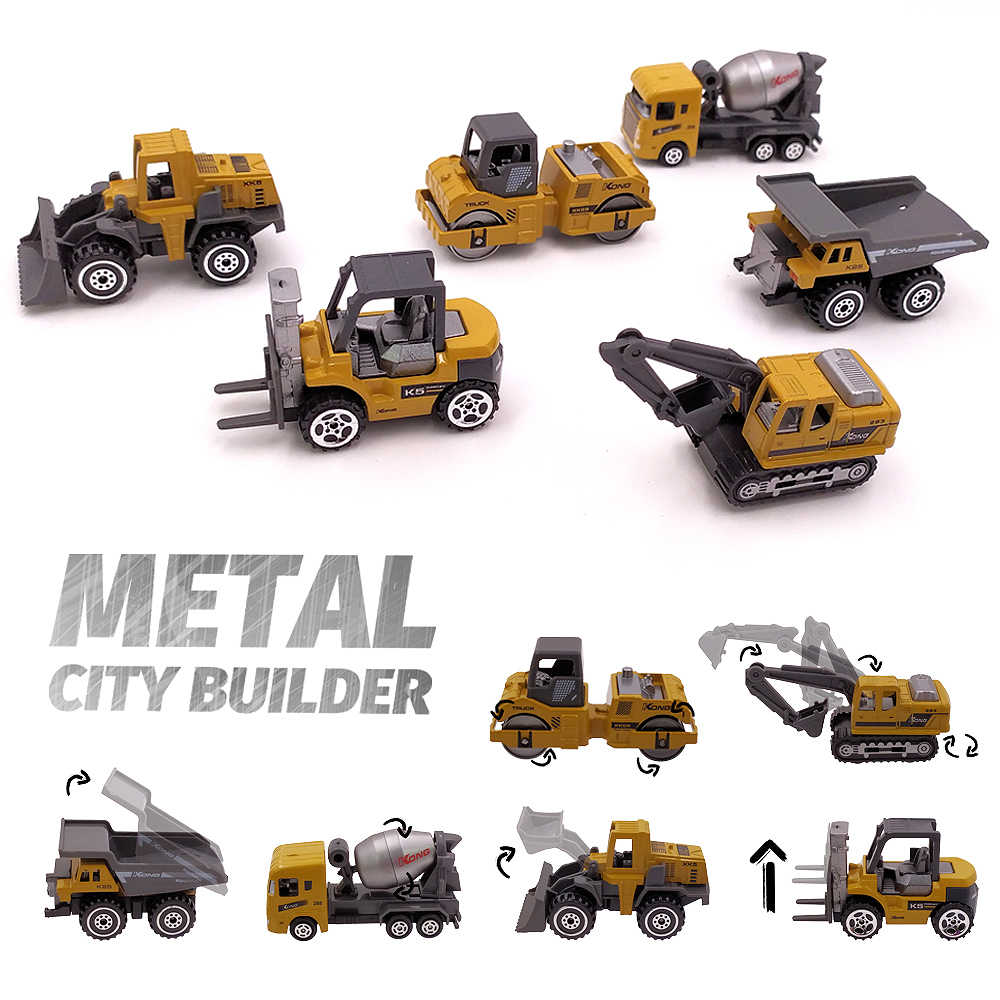 Alloy Mini Engineering Car Model 1:64 Metal Diecast Engineering Toy Vehicle Car Toy Dump Truck Forklift Excavator Play Set Gift