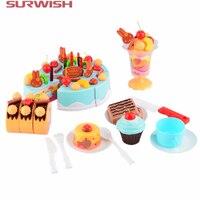 Kitchen Toys For Kids 75Pcs Set Plastic Kitchen Cutting Toy Birthday Cake Pretend Play Food Toy