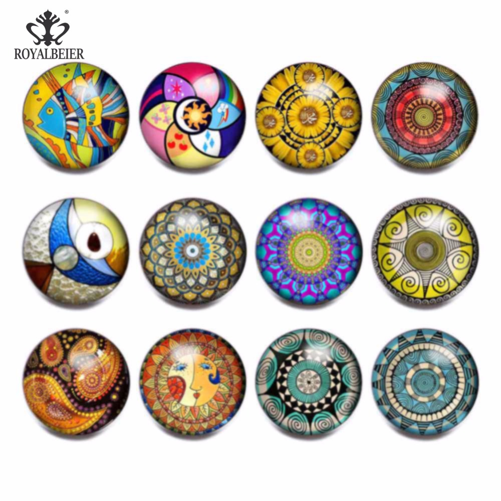 RoyalBeier 12pcs/lot Multi Pattern Style Mixed Glass Charms 18mm Snap Button For 20mm Snap Bracelet Snap Jewelry image