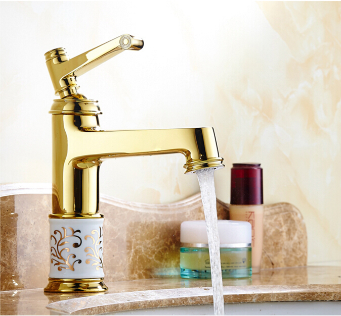 ФОТО fashion high quality gold finished cart carved cold and hot single lever bathroom sink faucet basin faucet