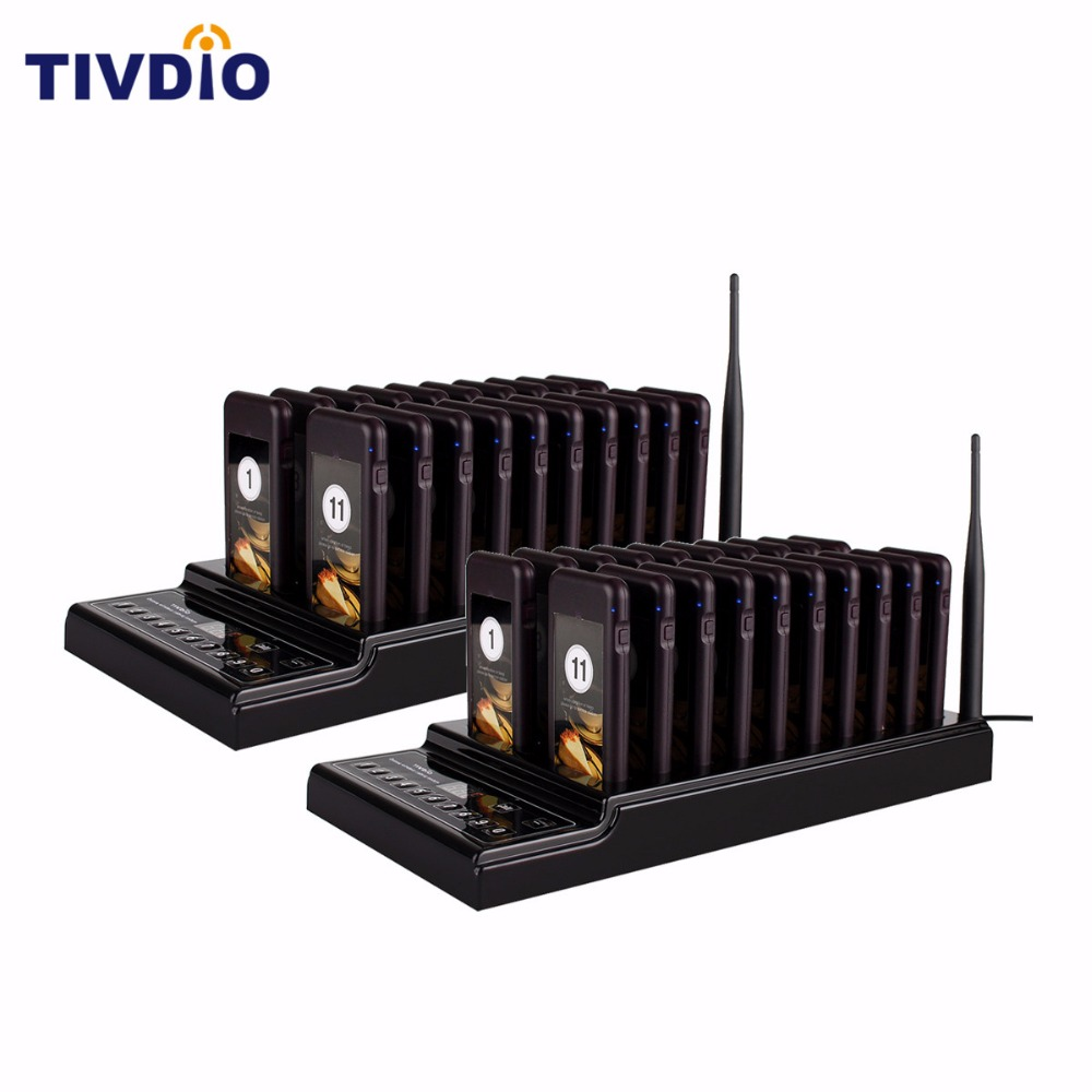 TIVDIO 999 Channel Wireless Restaurant Pager Guest Paging Queuing System 1 Transmitter+40Chargeable Restaurant Equipment F9402 wireless service call bell system popular in restaurant ce passed 433 92mhz full equipment watch pager 1 watch 7 call button