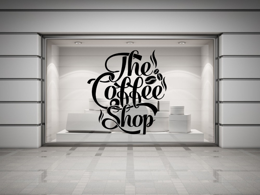 Coffee shop quote vinyl wall decal coffee lettering wall for Mural lettering