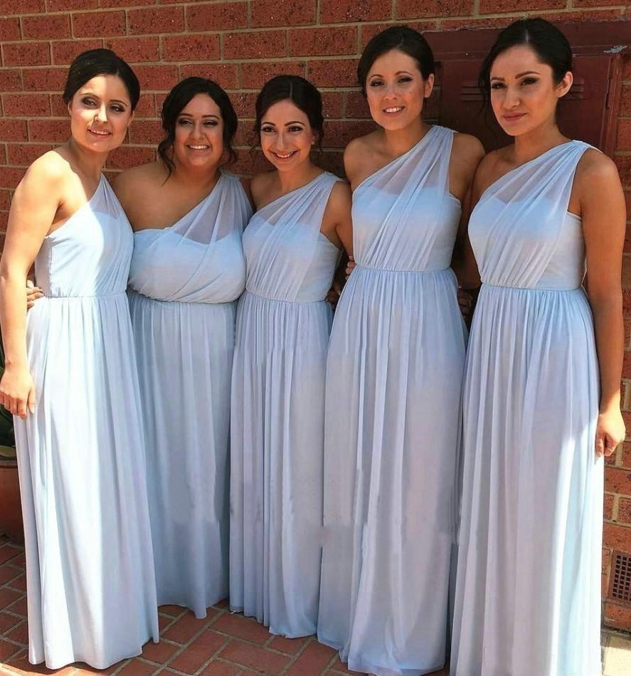 Blue Wedding Dresses 2019: Simple Light Blue Bridesmaid Dress One Shoulder 2019