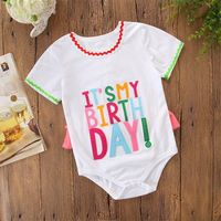 Baby Kid Girl Bodysuit Princess Newborn Baby Clothes Girls Boys Letter Short Sleeve Jumpsuit Infant Outfits Clothes Faashion Cut
