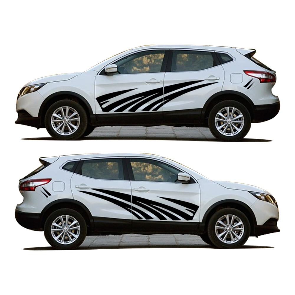 Pour Nissan Qashqai Car Styling Voiture Extérieur Autocollants Rayures Car Cover Creative BRICOLAGE Carrosserie Autocollant PVC 2 Pcs
