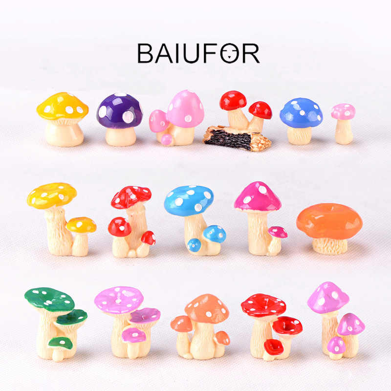 BAIUFOR Resin Miniatures Cartoon Simulated Mushroom Fairy Garden Decor Terrarium Figurines Doll house Accessories Children Toy