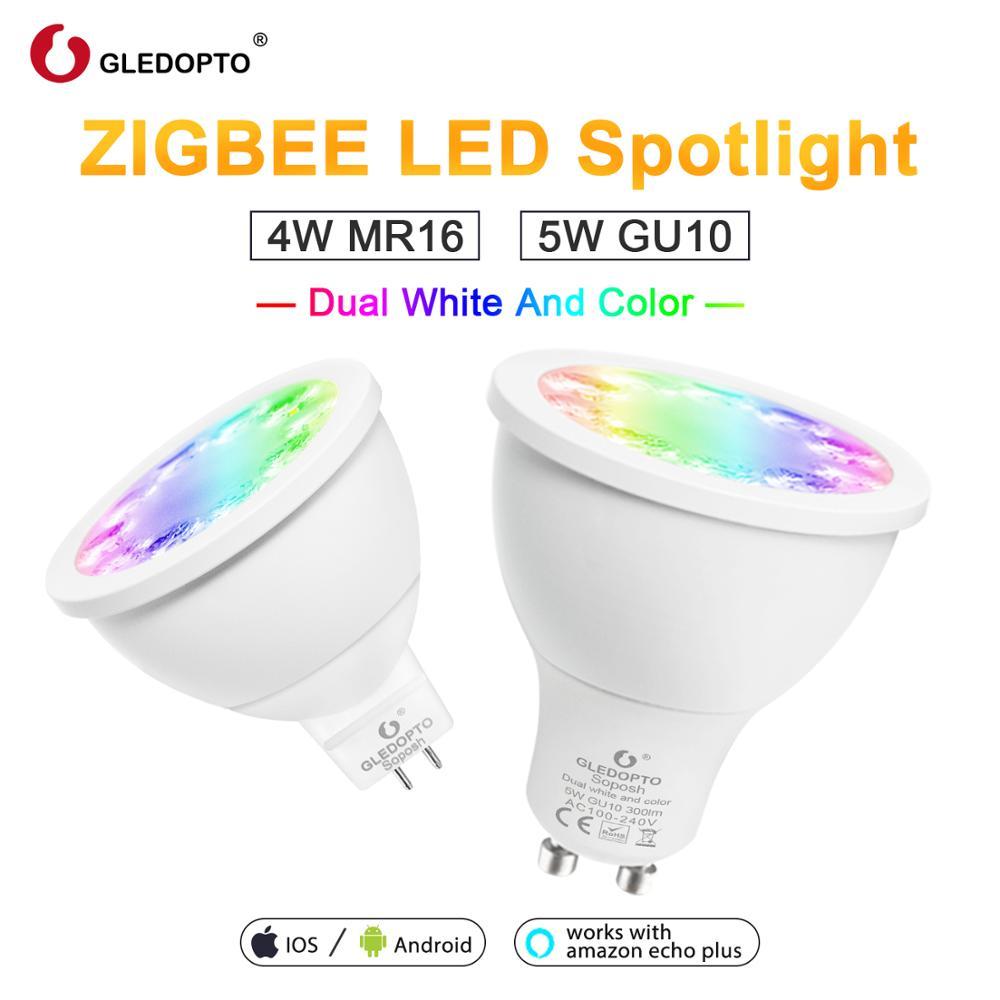 GLEDOPTO RGBCCT GU10 MR16 ZIGBEE ZLL RGB+Dual white color LED spotlight AC100-240V work with Amazon alexa gateways app control